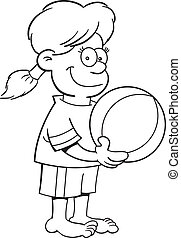 Cartoon Girl with a Beach Ball (Bla - Black and white...