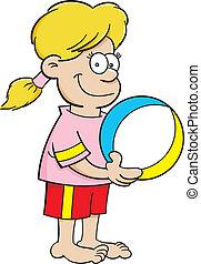 Cartoon girl with a beach ball