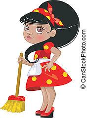 Cartoon girl with a broom