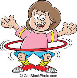 Cartoon girl with a hula hoop - Cartoon illustration of a...