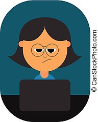 Cartoon girl with a smirk expression works in a laptop at night, vector or color illustration