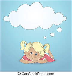 Cartoon girl with a thought bubble - Cartoon girl dreaming...