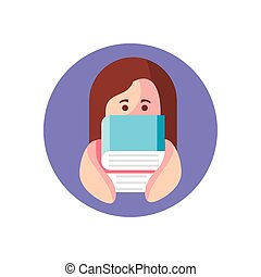 cartoon girl with books, block style icon