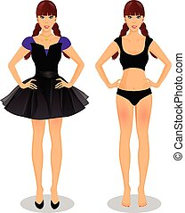 cartoon girl with braided plaits in dress and underwear