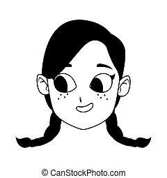 cartoon girl with braids icon, flat design