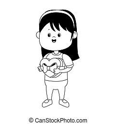 cartoon girl with chocolate box icon, flat design