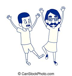 cartoon girl with crazy glasses scaring a boy icon