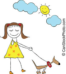cartoon girl with dog