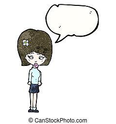 cartoon girl with flower in hair