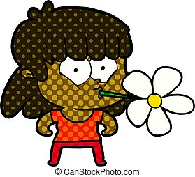 cartoon girl with flower in mouth