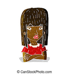 cartoon girl with folded arms