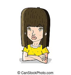 cartoon girl with folded arms
