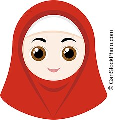 Cartoon girl with hijab - Cartoon girl with red hijab...