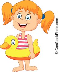 Cartoon Girl with inflatable ring - ball, balloon, break,...