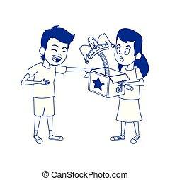 cartoon girl with joke box and boy laughing icon, flat design