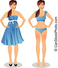 cartoon girl with long brown hair in blue dress and bikini