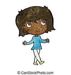 cartoon girl with no worries