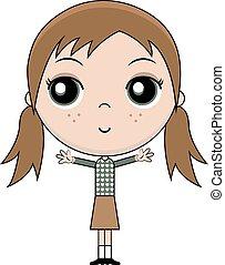 Cartoon girl with red hair, vector