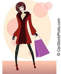 Cartoon girl with shopping bag