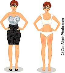 cartoon girl with short brown hair in black dress and white bikini