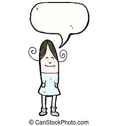 cartoon girl with speech bubble