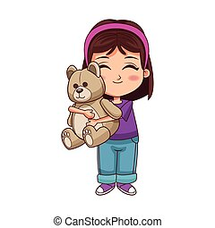 cartoon girl with teddy bear icon, colorful design