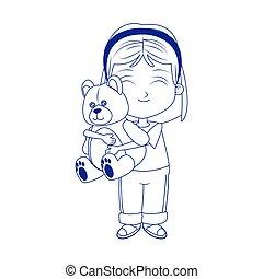 cartoon girl with teddy bear icon, flat design
