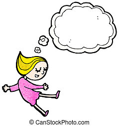 cartoon girl with thought bubble