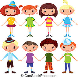 Cartoon girls and boys - Cartoon girls and cartoon boys....