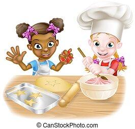 Cartoon Girls Baking