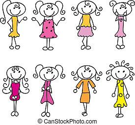 cartoon girls doodle