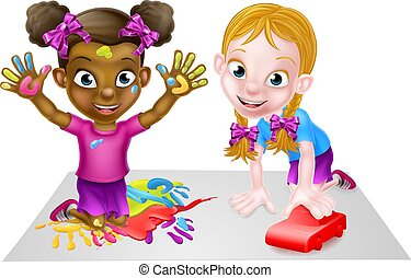 Cartoon Girls Playing with Car and Painting