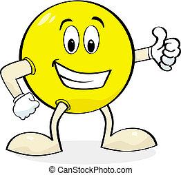Cartoon giving thumbs up - Cartoon illustration of a happy...