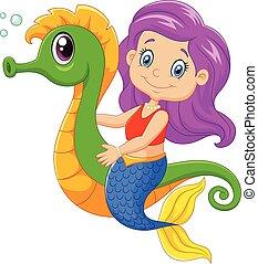 cartoon, glade, svømning, havfrue