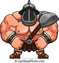 A cartoon illustration of a muscular gladiator flexing.