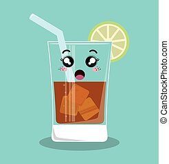 cartoon glass beverage drink lemon design isolated - cartoon...