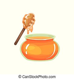 Cartoon glass jar of honey with wooden drizzler. Organic and healthy product from apiary farm. Sweet food. Ingredient good for facial skin care. Flat vector design
