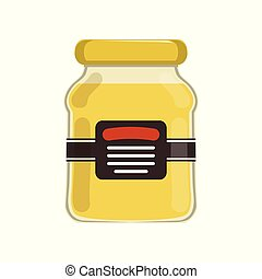 Cartoon glass jar with natural honey. Bank with brand label. Sweet food. Organic product from apiary farm. Flat vector design for advertising flyer or poster