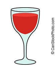 Cartoon Glass of Red Wine Isolated Illustration