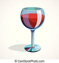 Cartoon glass of red wine. vector illustration