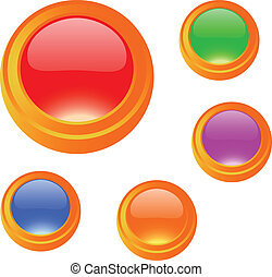 Cartoon glossy blank button set