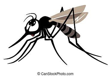 cartoon mosquito gnat isolated on white