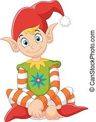 cartoon gnome sitting - vector illustration of cartoon gnome...