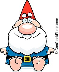 Cartoon Gnome Sitting - A cartoon illustration of a gnome...