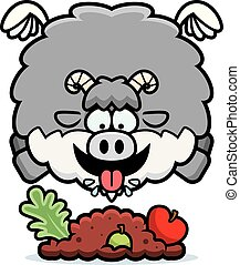 Cartoon Goat Eating - A cartoon illustration of a goat...