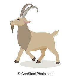 Cartoon goat in different poses in flat style
