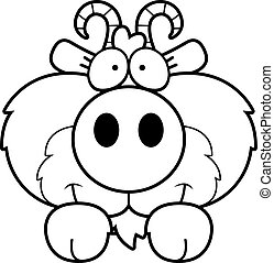 Cartoon Goat Peeking