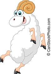 Cartoon goat standing - vector illustration Cartoon goat...