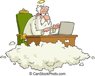 Cartoon God - God works for the laptop vector illustration