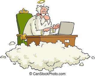 Cartoon God - God works for the laptop vector illustration